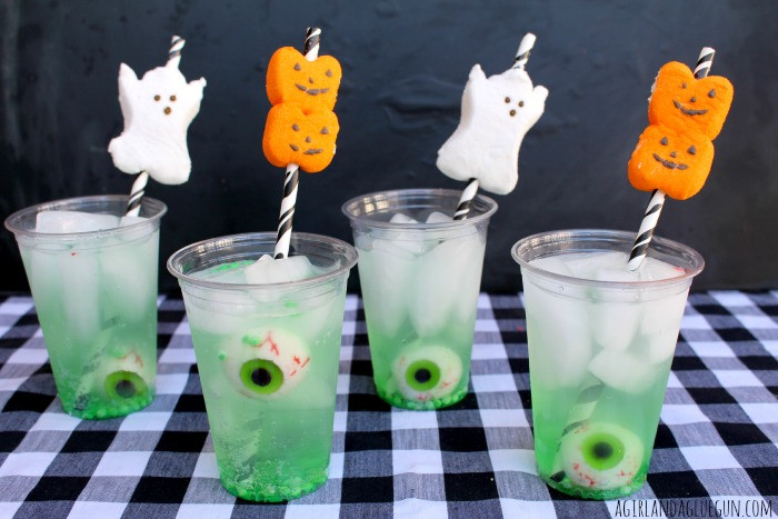Halloween Mix Drinks  easy halloween drink with peep straws A girl and a glue gun