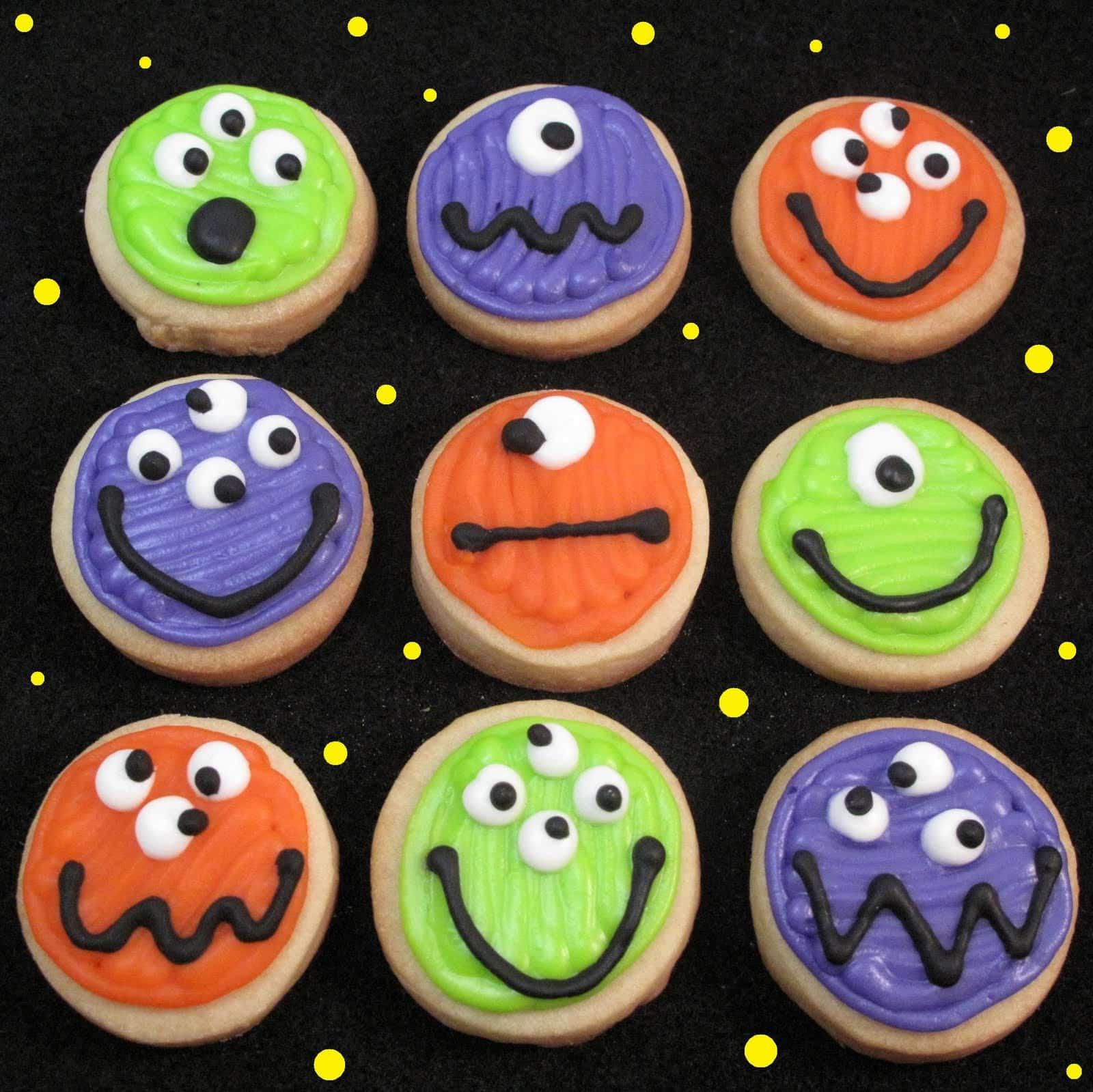Halloween Monster Cookies  mini monster cookies bite size Halloween cookies