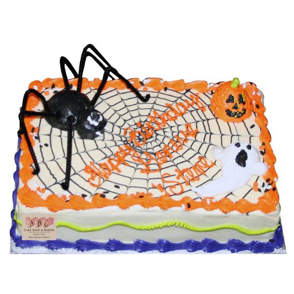Halloween Sheet Cake  2069 Halloween Sheet Cake with Spider & Web ABC Cake