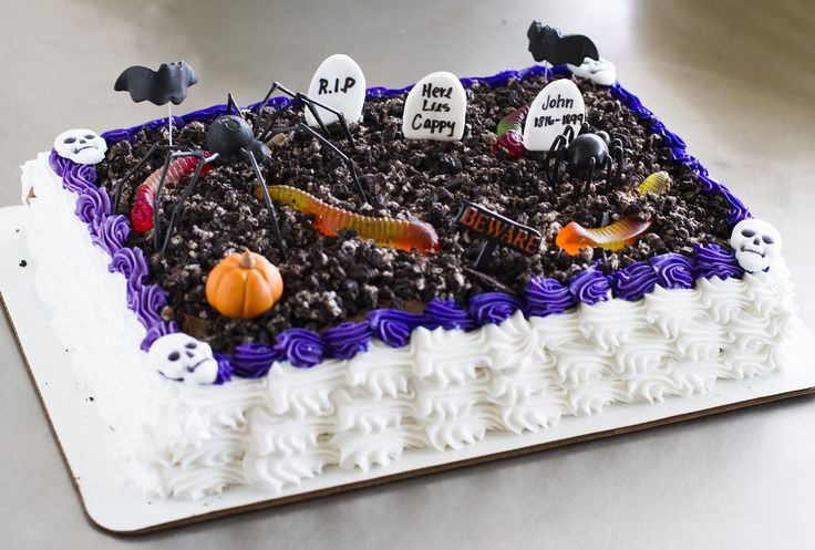 Halloween Sheet Cake  A graveyard sheet cake with worms and spiders halloween