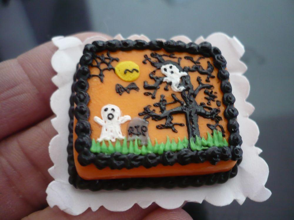 Halloween Sheet Cake  Dollhouse Miniatures Clay Halloween Devil Sheet Cake Fancy