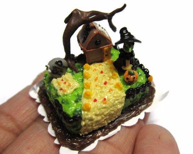 Halloween Sheet Cake  Dollhouse Miniatures Halloween Witch House Sheet Cakes