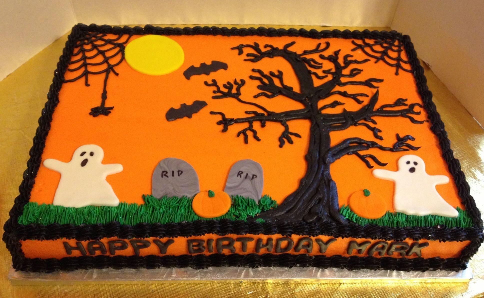 Halloween Sheet Cake  Halloween Birthday Sheet Cake