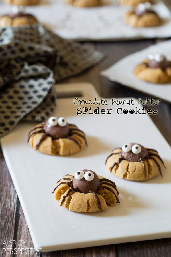 Halloween Spider Cookies  Chocolate Peanut Butter Spider Cookies