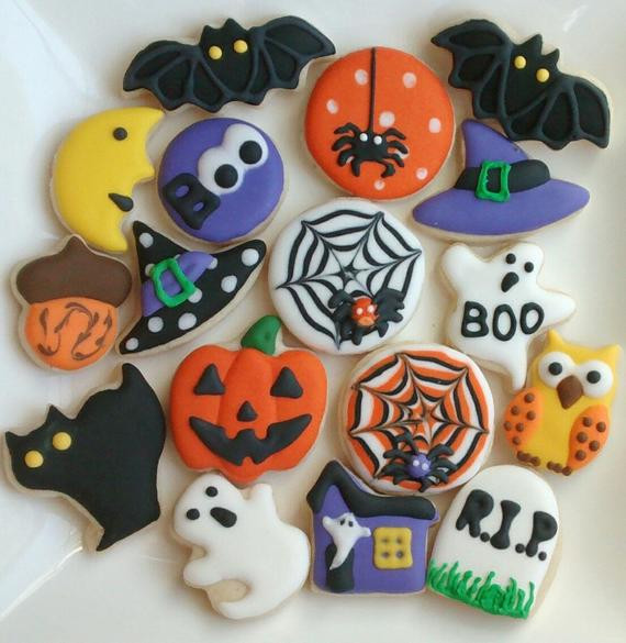 Halloween Sugar Cookies  Halloween sugar cookies mini or large decorated with royal
