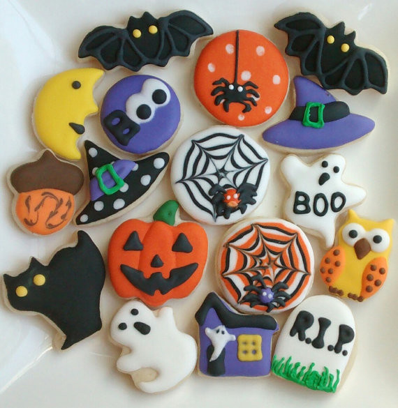 Halloween Themed Cookies  Halloween sugar cookies mini or large decorated with royal