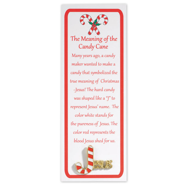 Hard Candy Christmas Meaning  Story of the Candy Cane Lapel Pin with Bookmark 12 pk
