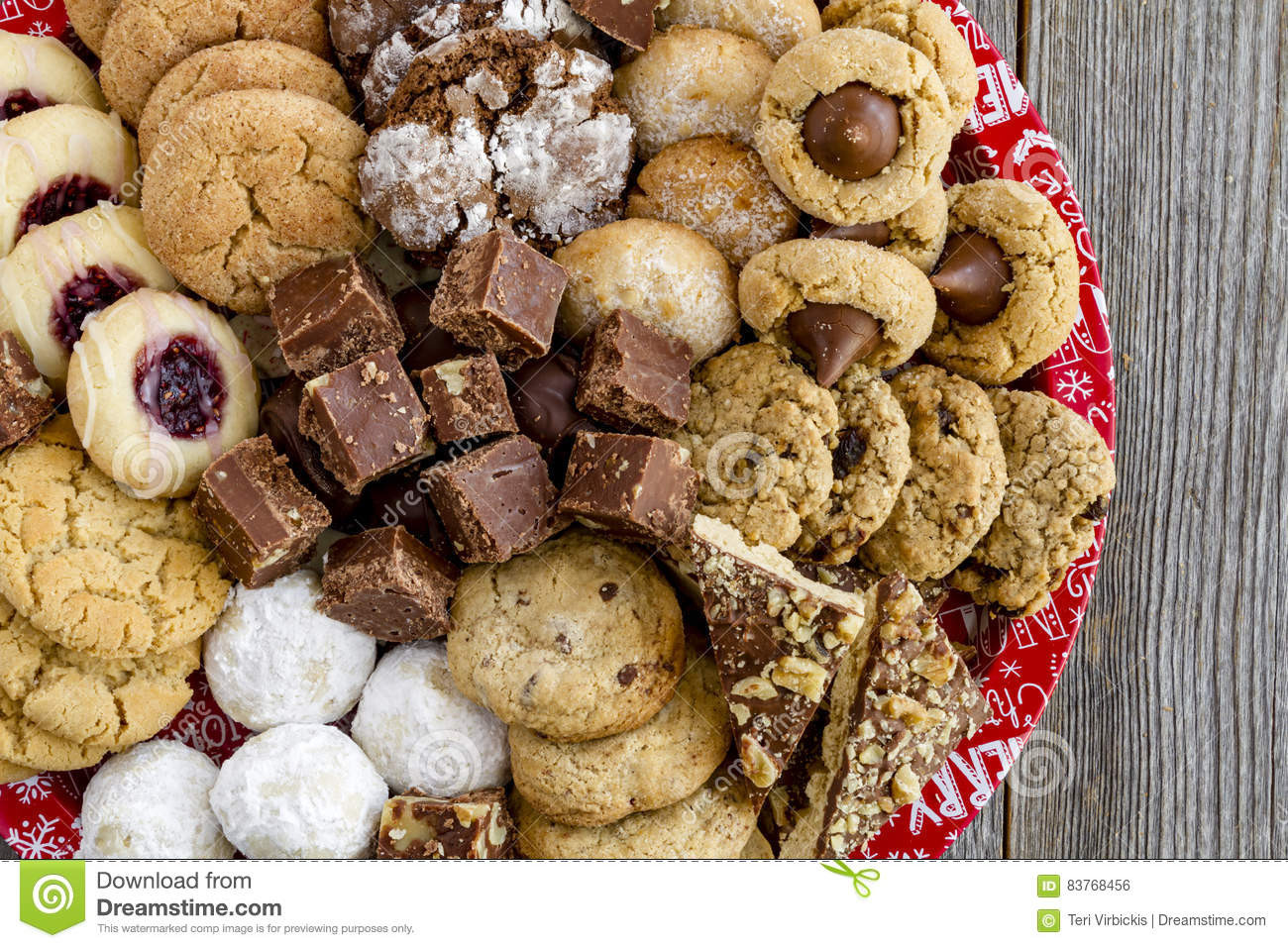 Homemade Christmas Cookies For Sale  Holiday Cookie Gift Tray With Assorted Baked Goods Stock