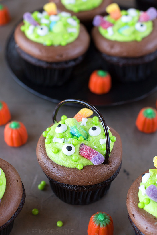 "Homemade Halloween Cupcakes  Witch s Cauldron Chocolate Cupcakes with Orange ""Scream"
