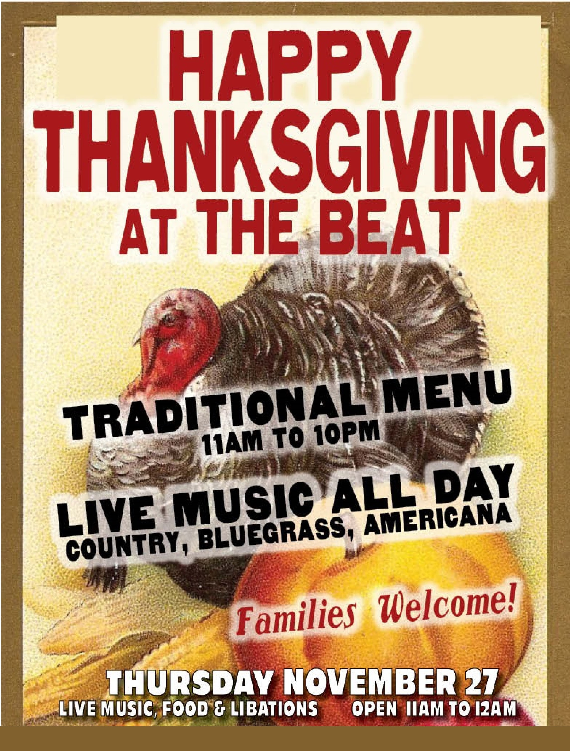 I Will Survive Thanksgiving Turkey Song  The Beat Celebrates Thanksgiving with Special Menu and