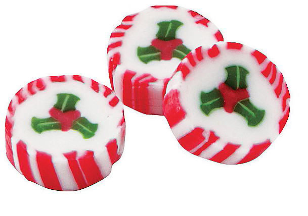 Individually Wrapped Christmas Candy  Unique peppermint candy with holly design for Christmas