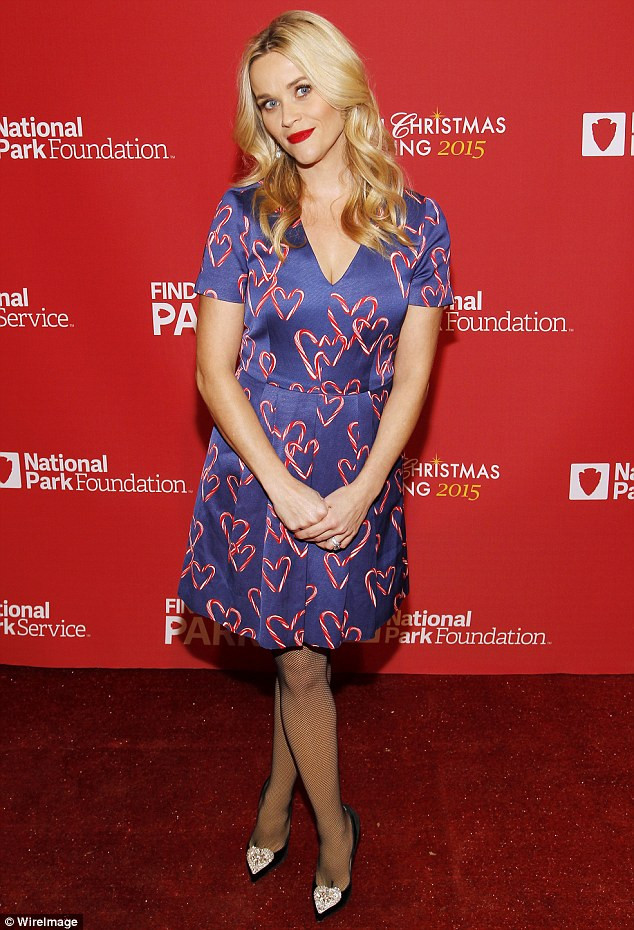Kent Candy Christmas Divorce  Reese Witherspoon rocks candy cane dress for Christmas