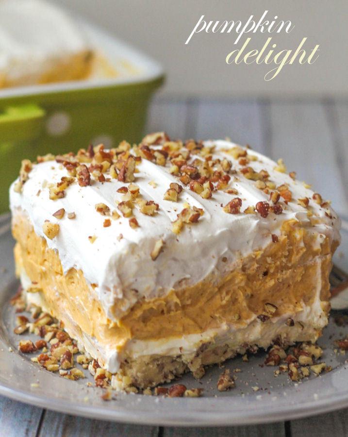 Lighter Thanksgiving Desserts  BEST Pumpkin Delight Dessert Recipe