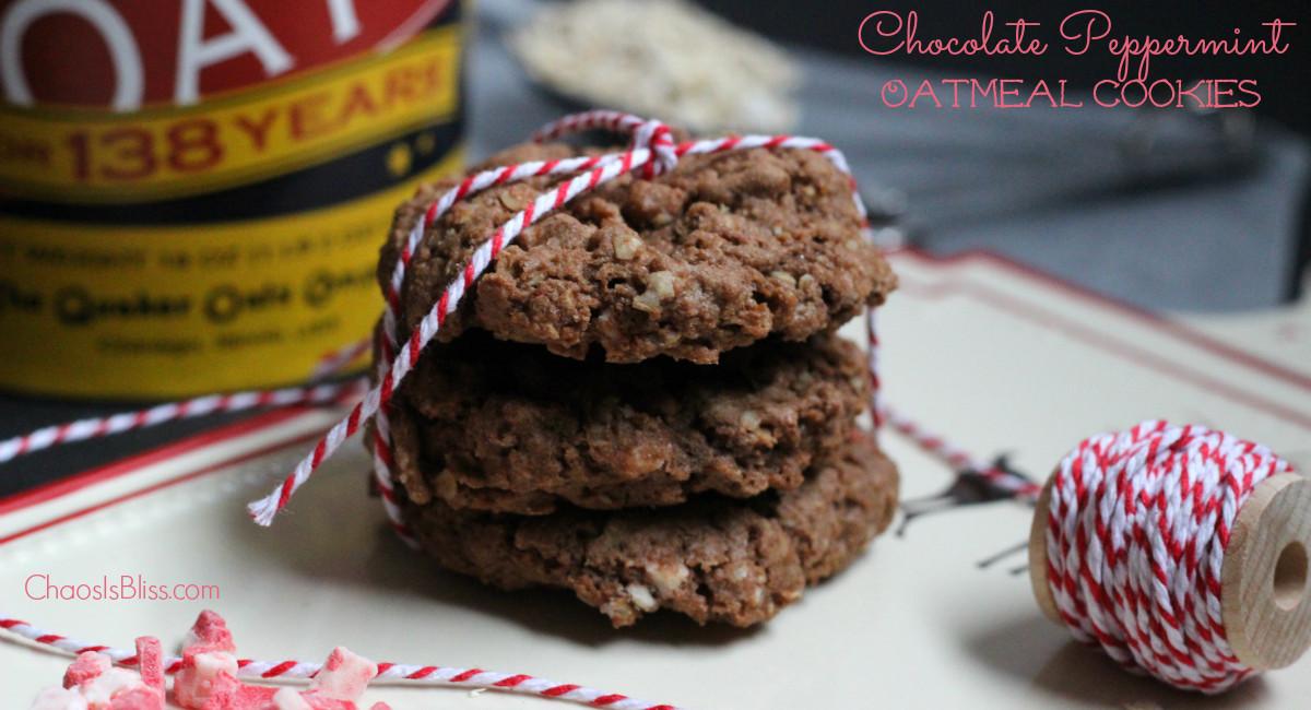 Oatmeal Christmas Cookies  Chocolate Peppermint Oatmeal Cookies Recipe