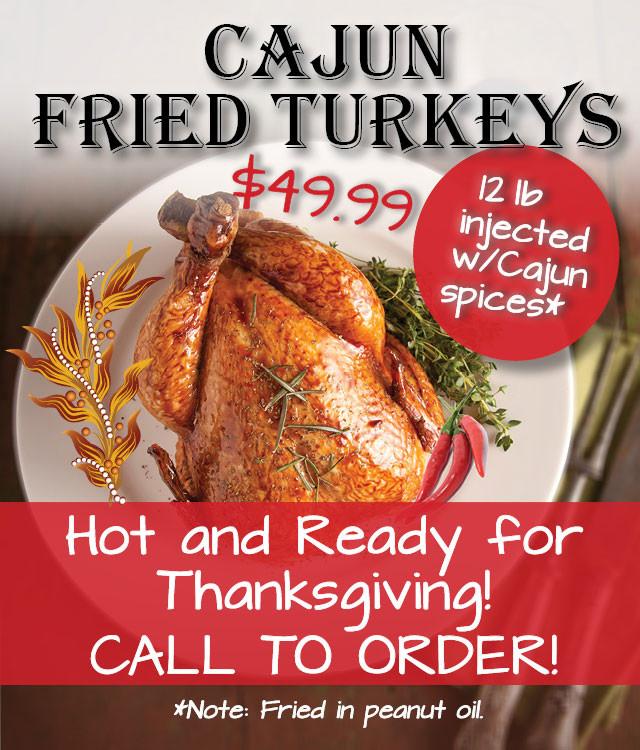 Order Fried Turkey For Thanksgiving  Cajun Fried Turkeys Do s Cajun Diner at The Harbor