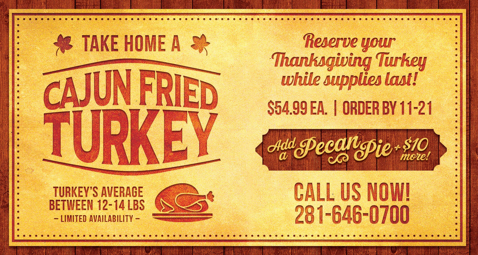 Order Fried Turkey For Thanksgiving  Take Home a Cajun Fried Turkey Orleans Seafood Kitchen