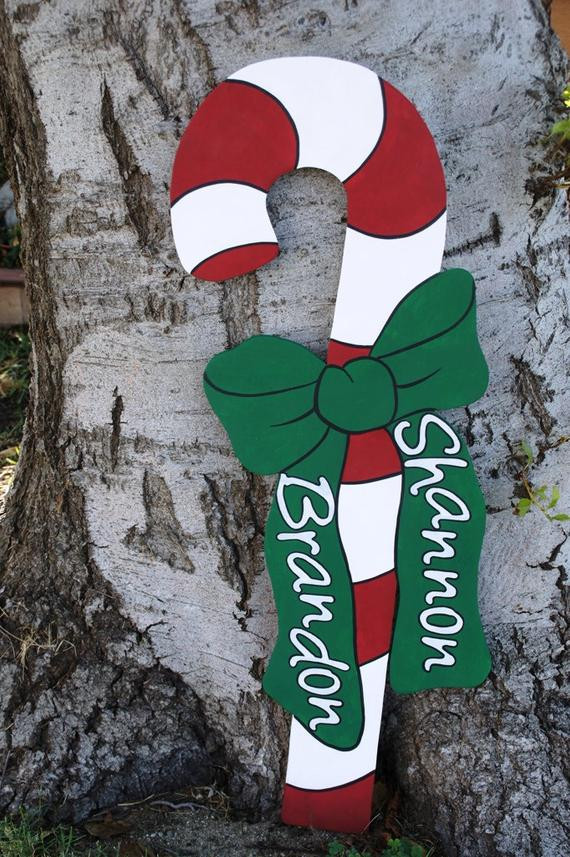 Outdoor Christmas Candy Canes  Christmas Candy Cane Wood Yard Art Outdoor Decoration