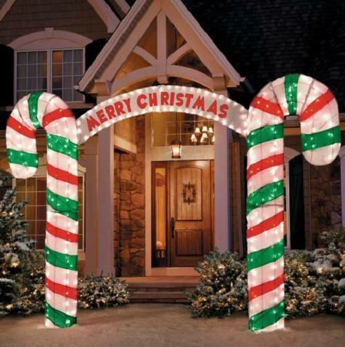 """Outdoor Christmas Candy Canes  New 10"""" W Lighted Merry Christmas Candy Cane Archway"""