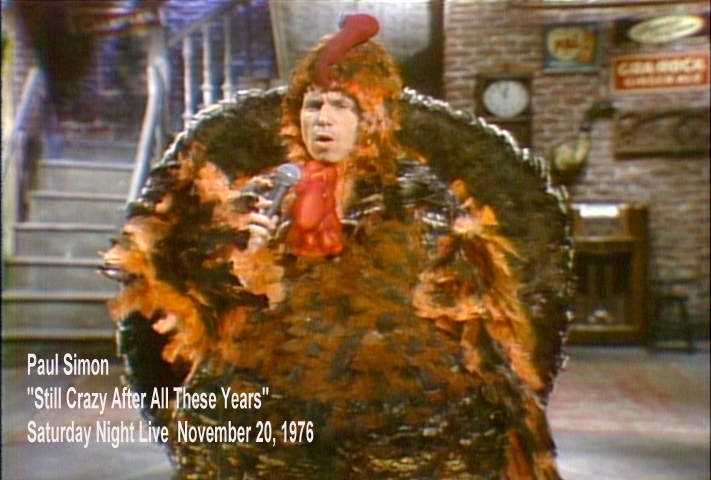 Paul Simon Thanksgiving Turkey Snl  A poster advertising the first episode of Saturday Night