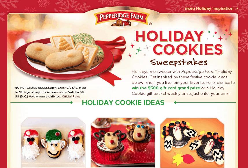 Pepperidge Farms Christmas Cookies  HOLIDAY SWEEPSTAKES WITH PEPPERIDGE FARM