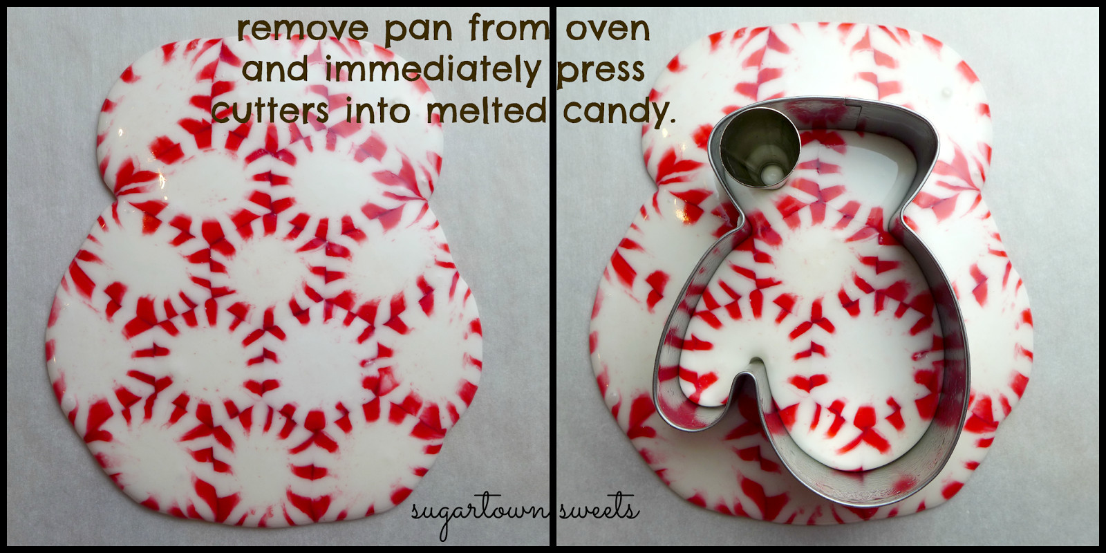 Peppermint Candy Christmas Ornaments  Sugartown Sweets Melted Peppermint Ornaments Mittens