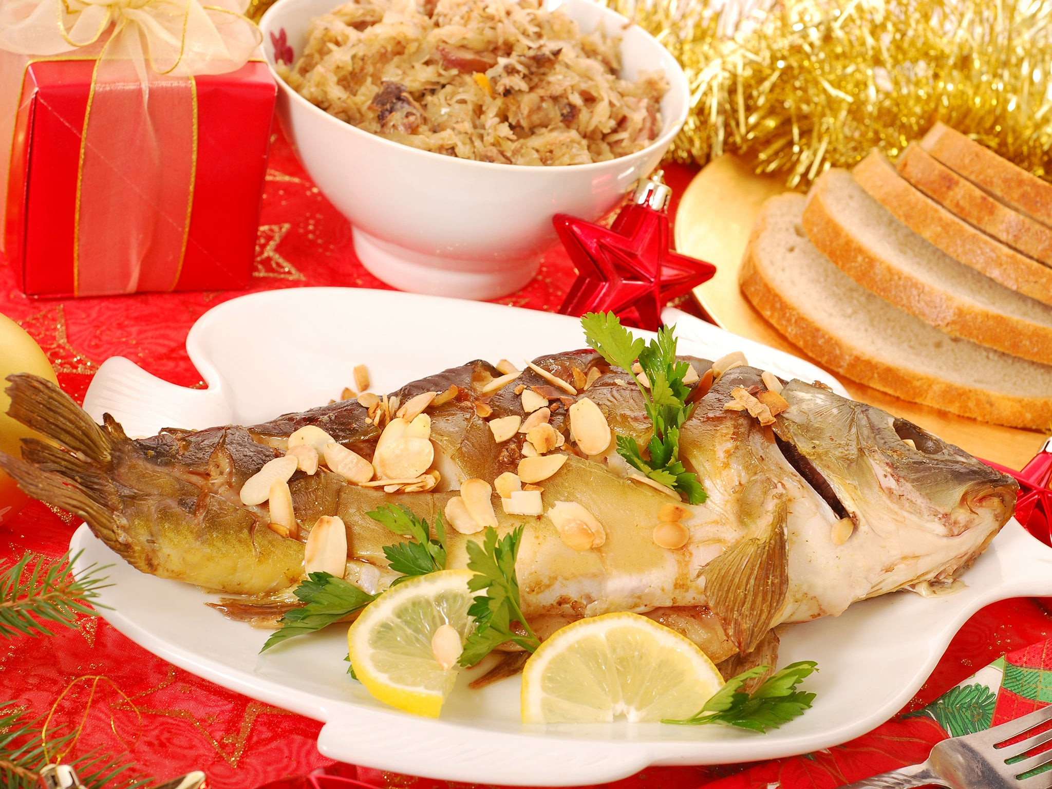Polish Christmas Dinner  Polish Christmas dinner Carp in the bathtub and hay under