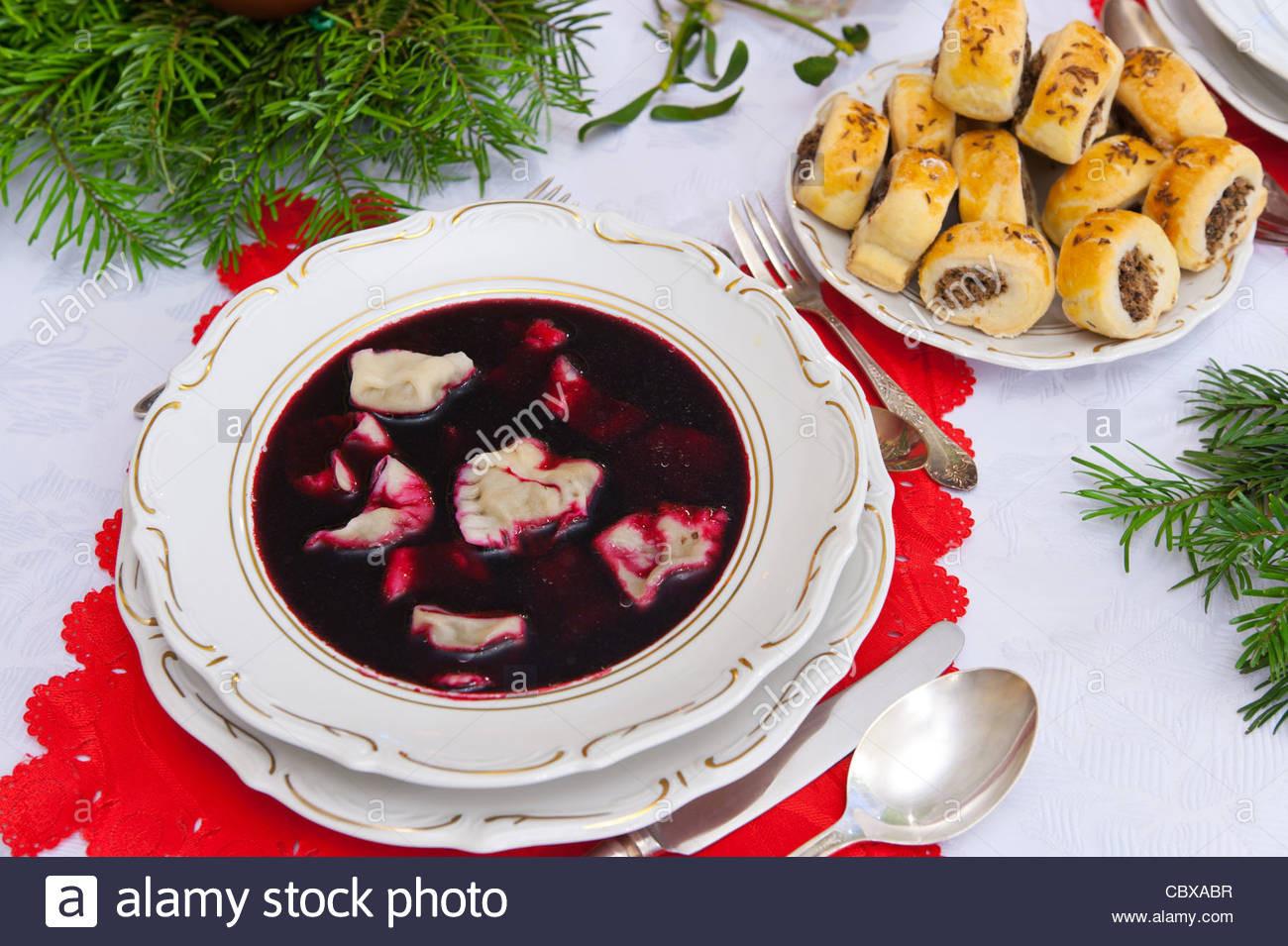 Polish Christmas Dinner  Traditional Polish Christmas dinner soup Stock