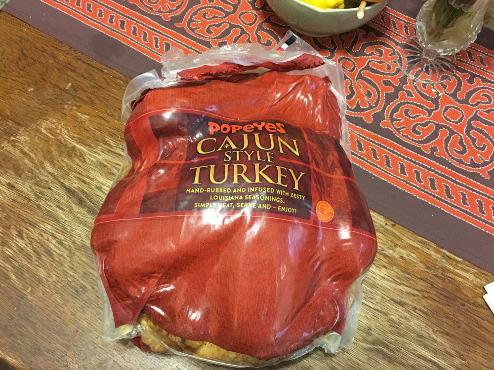 Popeyes Thanksgiving Turkey  Popeyes sells Cajun turkey for Thanksgiving and it's very