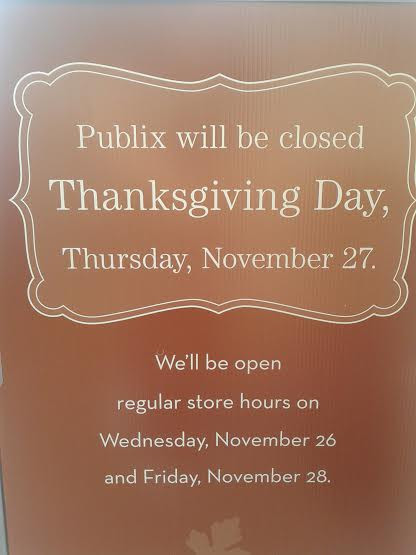 Publix Thanksgiving Dinner  Publix Holiday Hours Thanksgiving