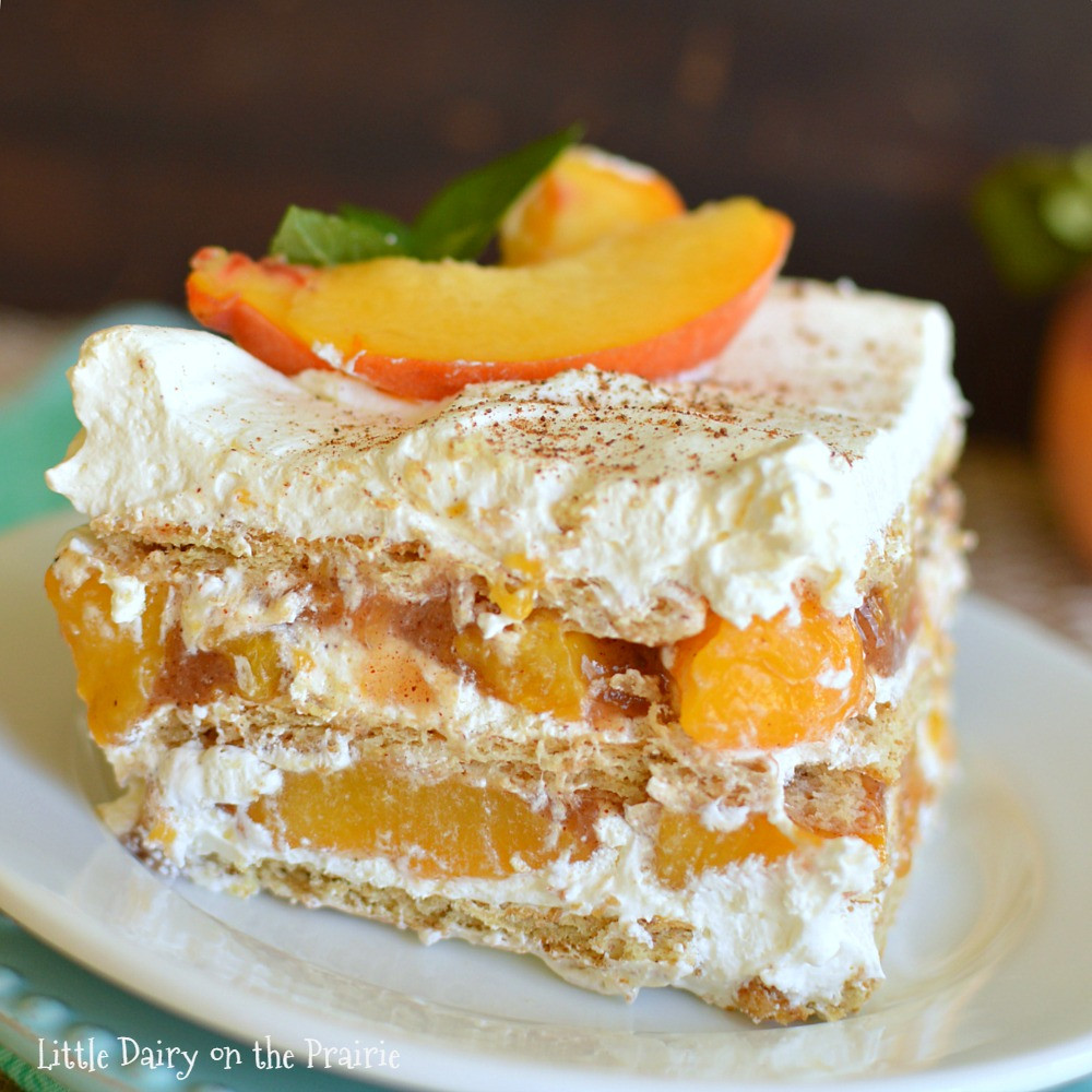 Quick And Easy Fall Desserts  No Bake Peach Icebox Cake Little Dairy the Prairie