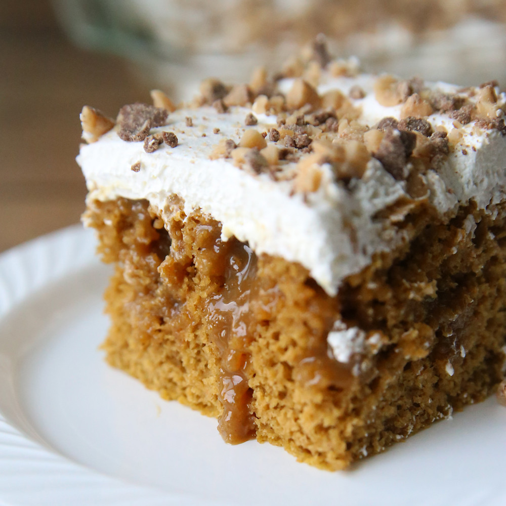Quick Fall Desserts  quick easy pumpkin caramel poke cake recipe It s