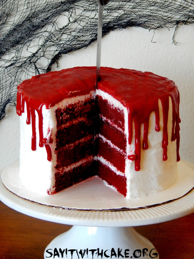 Red Velvet Halloween Cake  Bloody Halloween Cake – Say it With Cake