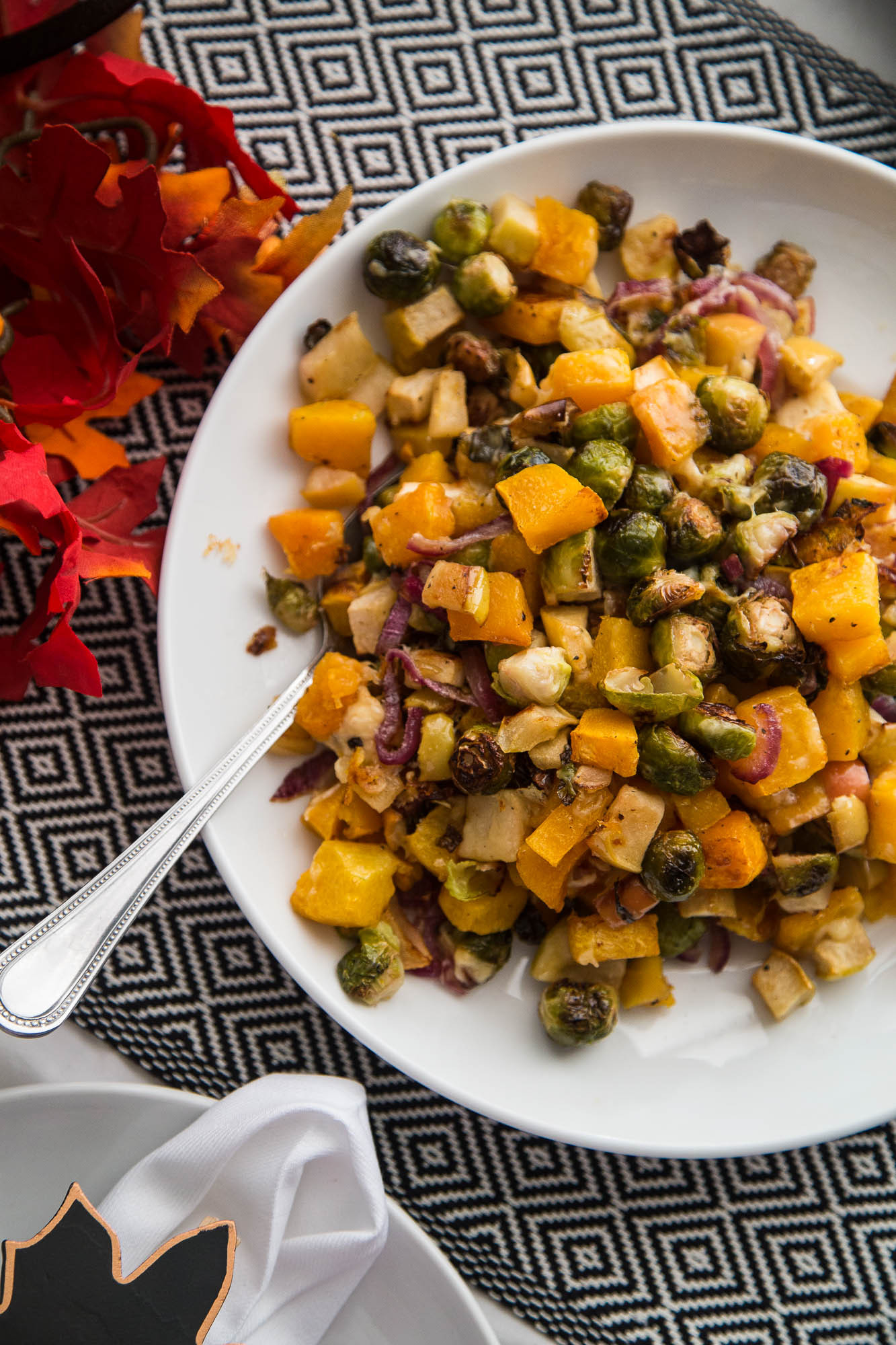 Roasted Fall Vegetables  Roasted Fall Ve ables with Apples & Gouda Perry s Plate