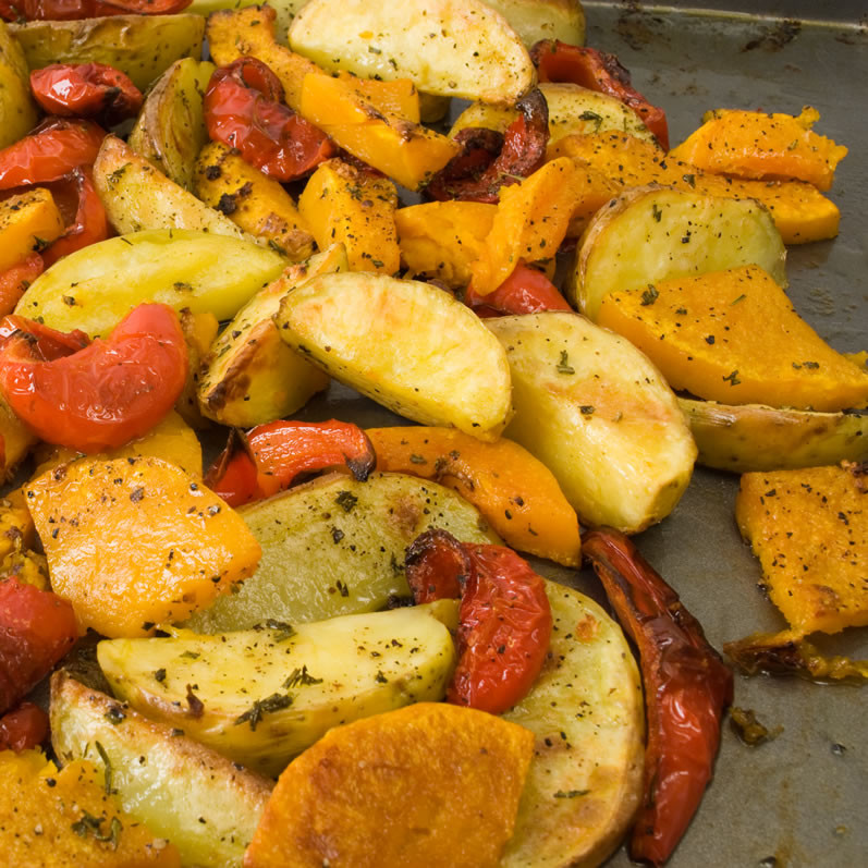 Roasted Fall Vegetables  Roasted Fall Ve able Salad with Warm Goat Cheese & Honey