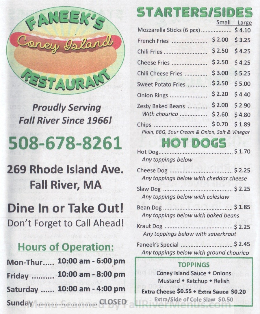 Rogers Hot Dogs Fall River  Faneek's Coney Island Restaurant