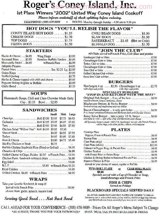 Rogers Hot Dogs Fall River  line Menu of Rogers Coney Island Hot Dogs Restaurant