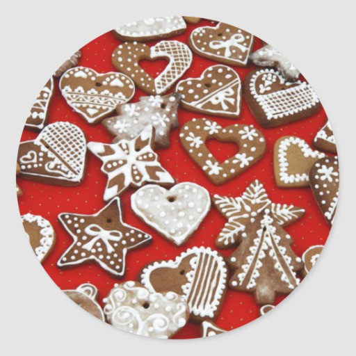 Round Christmas Cookies  Christmas Gingerbread Cookies Round Sticker
