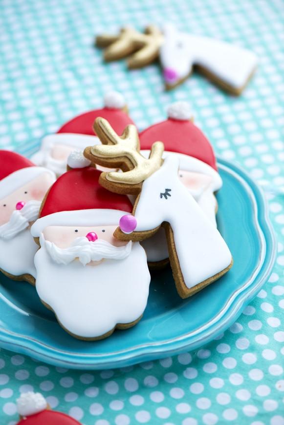 Santa Christmas Cookies  Gilded Reindeer & Santa Gingerbread Cookies