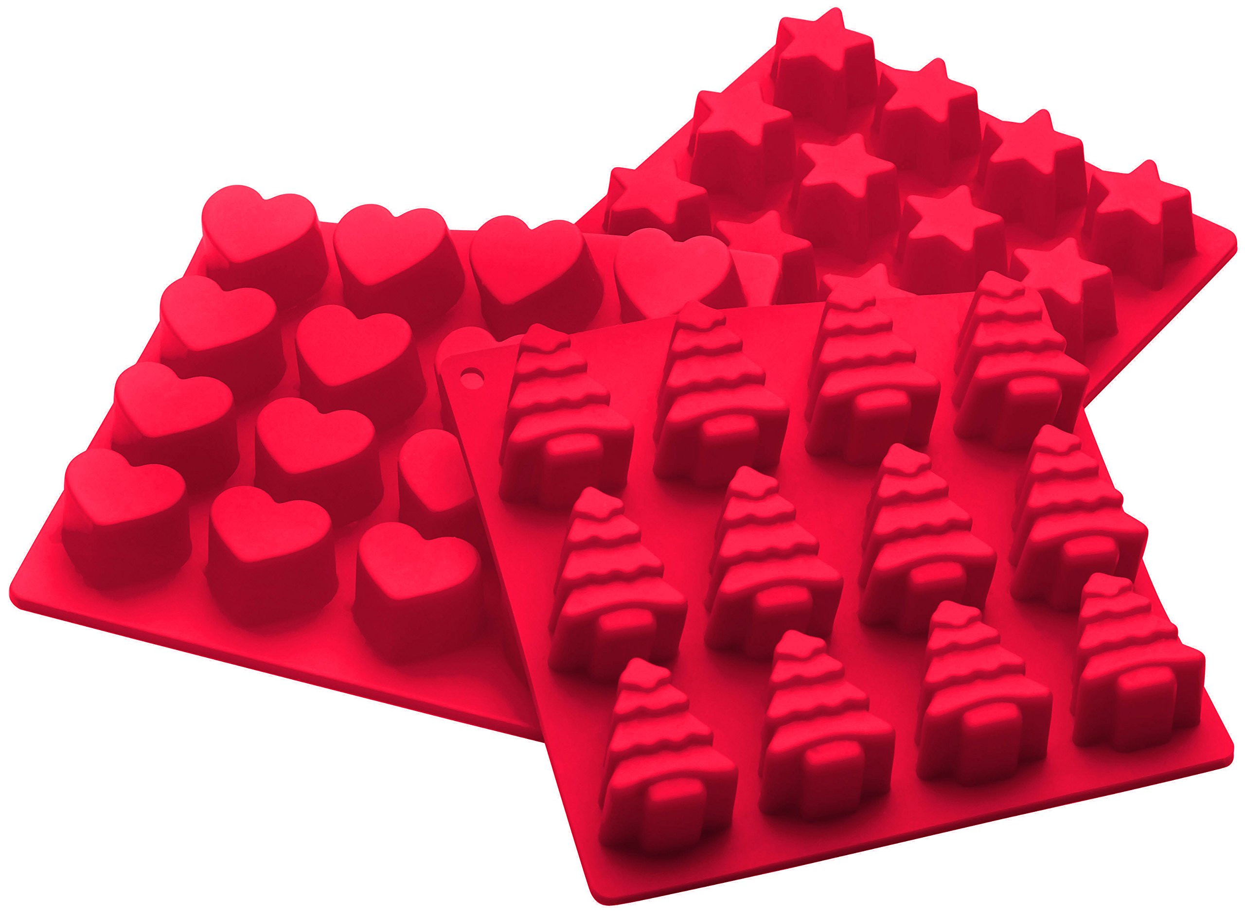 Silicone Christmas Candy Molds  StarPack Premium Silicone Holiday Candy Molds 3 Pack