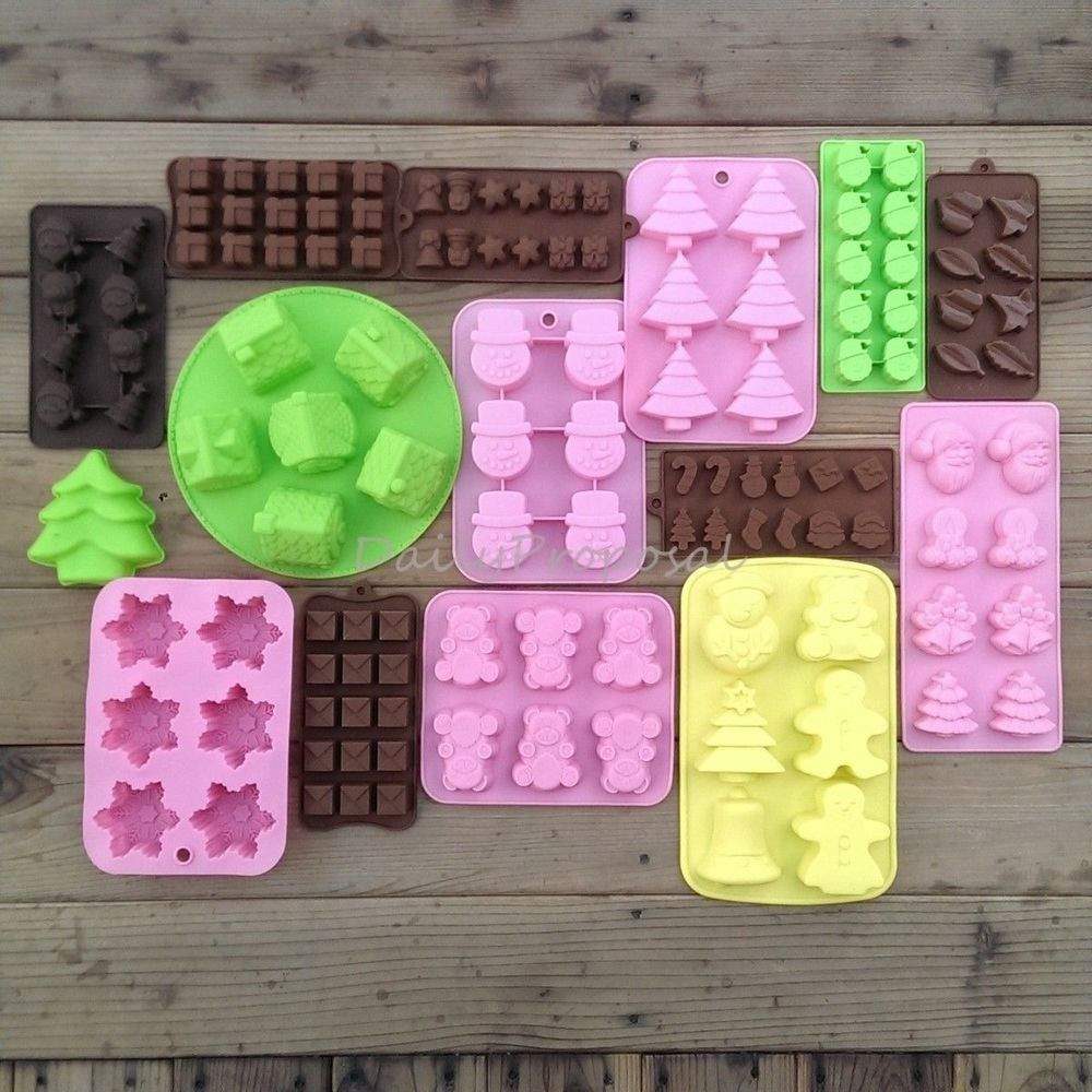 Silicone Christmas Candy Molds  15 Christmas Soap Bake Cake Ice Chocolate Candy Mold