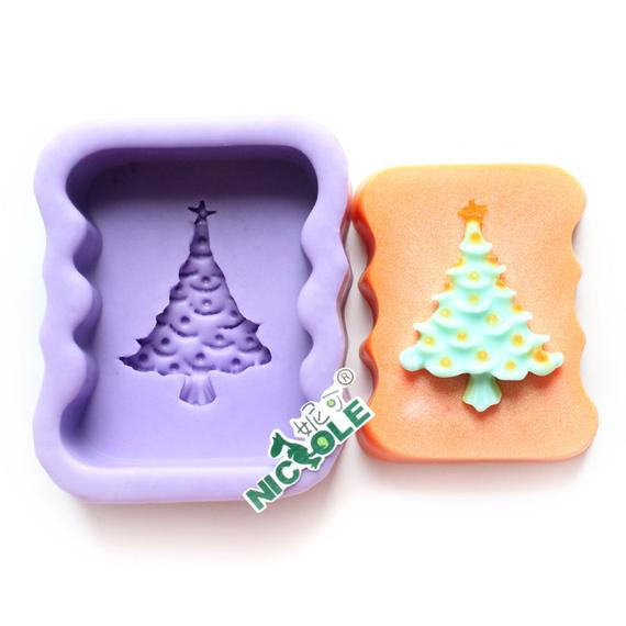 Silicone Christmas Candy Molds  Christmas Tree Oblong Soap Mold Flexible Silicone Mold Candy