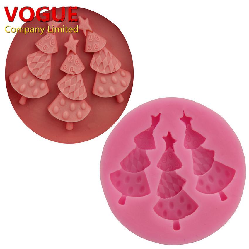Silicone Christmas Candy Molds  NICE 3 Hole DIY Christmas Trees Cake Molds Fondant