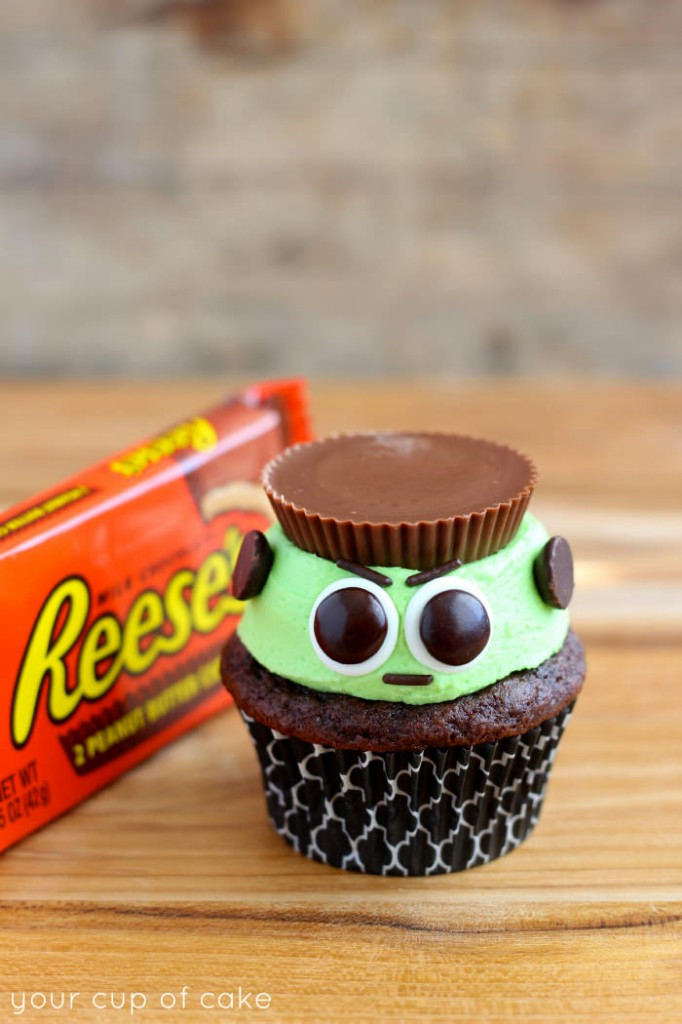 Simple Halloween Cupcakes  Reese s Frankenstein Cupcakes Your Cup of Cake