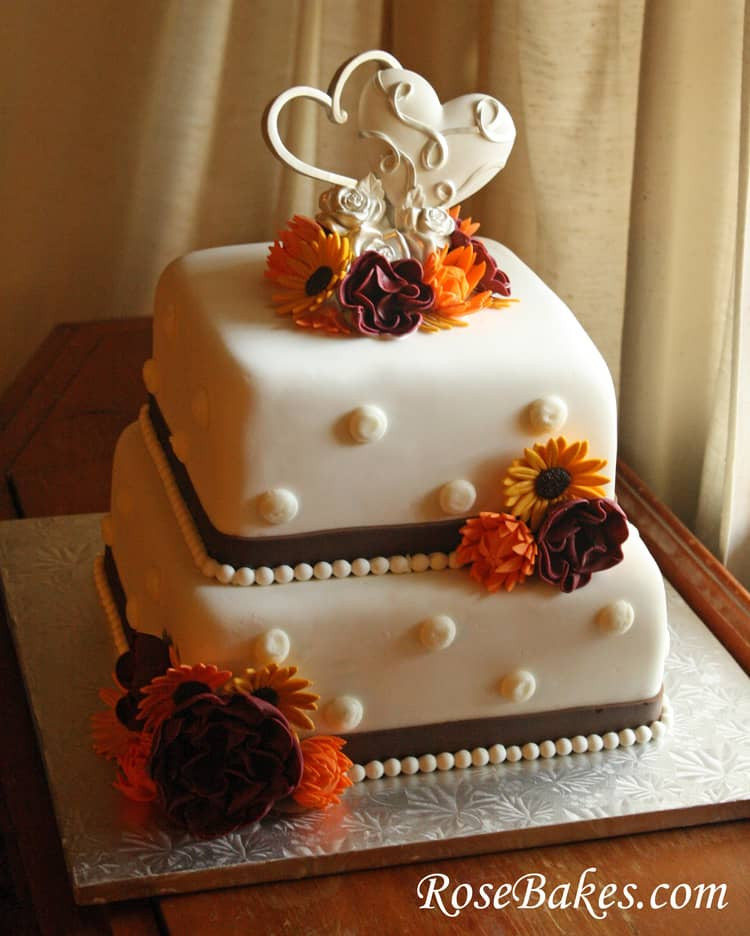 Small Fall Wedding Cakes  Fall Flowers Wedding Cake