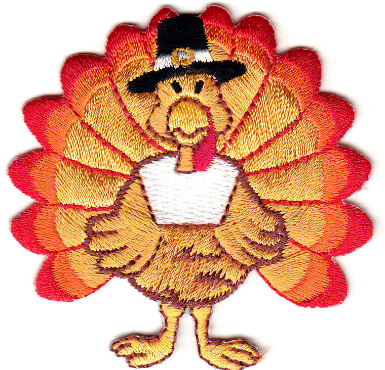 Smallest Turkey For Thanksgiving  THANKSGIVING TURKEY Small Iron Embroidered Applique