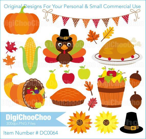 Smallest Turkey For Thanksgiving  Items similar to Thanksgiving Turkey Pumpkin Pie Food Clip