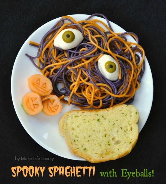 Spooky Halloween Dinners  Spooky Spaghetti with Eyeballs Pasta Recipe Make Life Lovely