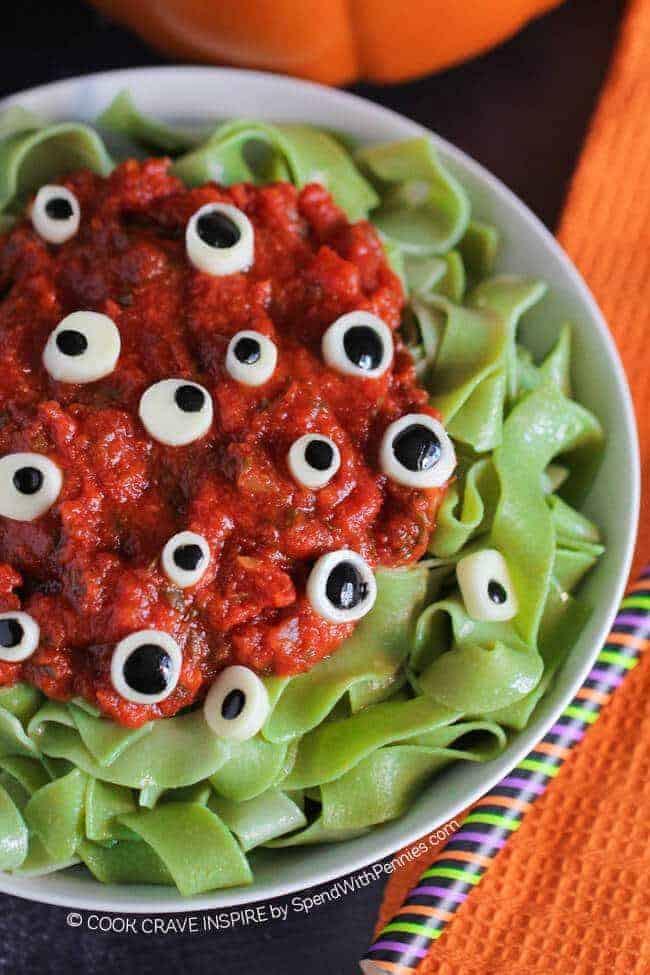 Spooky Halloween Dinners  Eyeball Pasta Halloween Dinner Idea Spend With Pennies