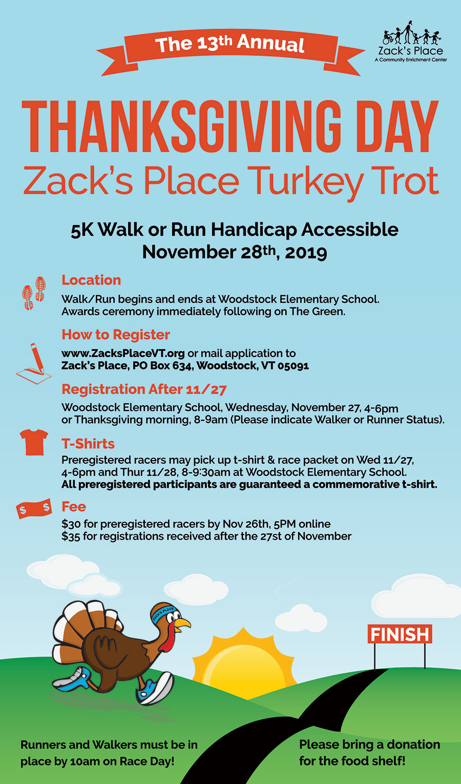 Thanksgiving 2019 Turkey  Turkey Trot Woodstock VT 5k Road Race