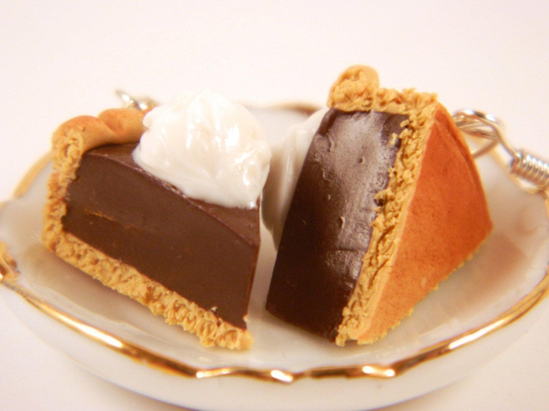 Thanksgiving Chocolate Pie  Thanksgiving Chocolate Pie Slice Earrings Pie Earrings